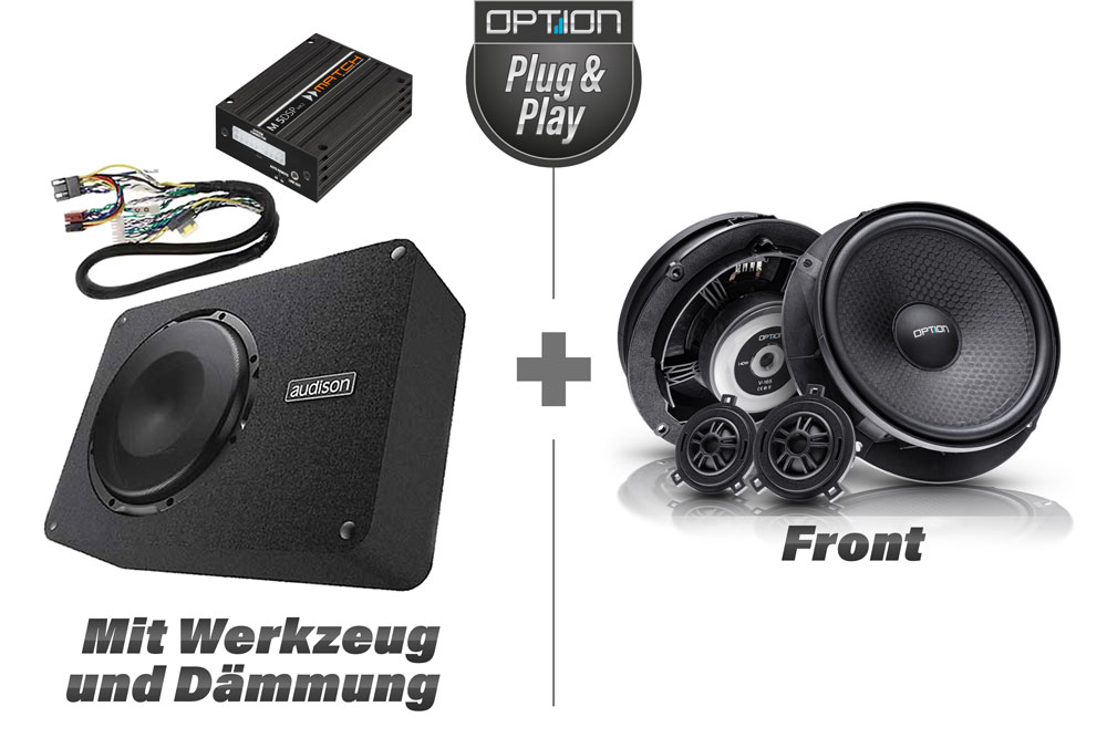 VW Golf 7 Soundpaket | Option V3 | Front-Lautsprecher + DSP-Verstärker + Subwoofer