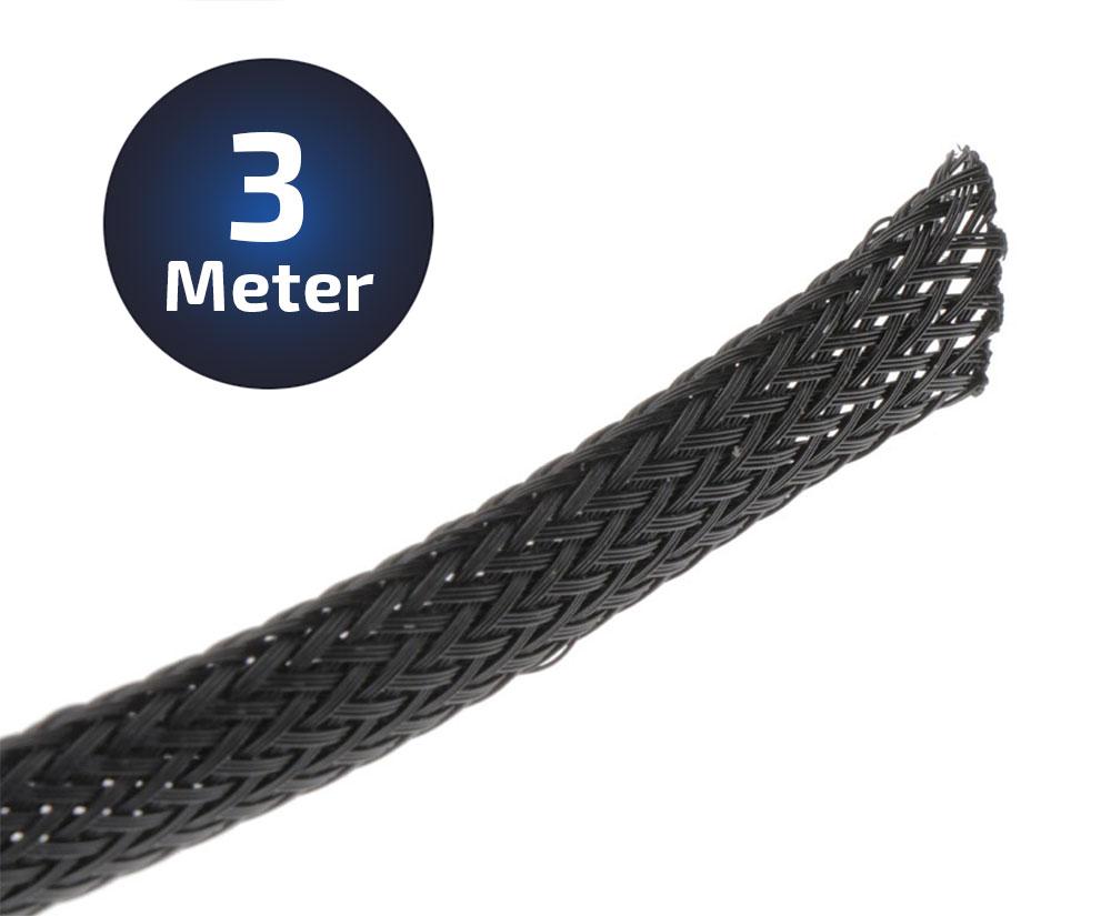 3-Meter Geflechtschlauch PolyesterBreite 5-12 mm