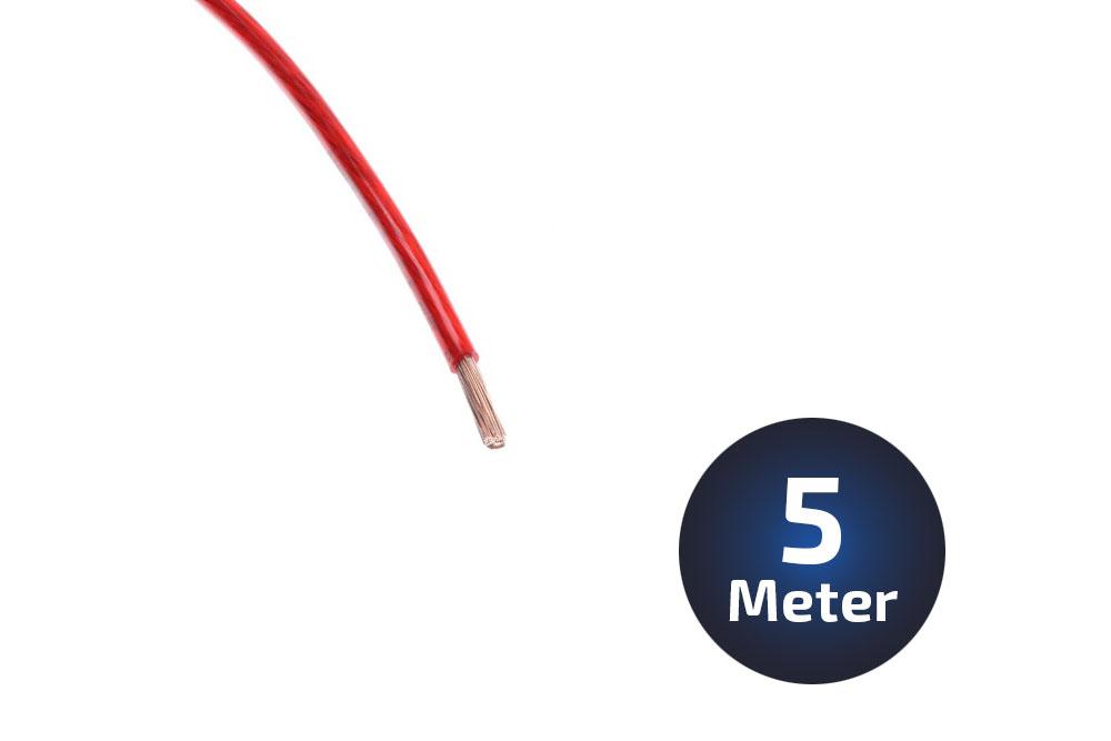 5-Meter Stromkabel 6qmm Vollkupfer rot