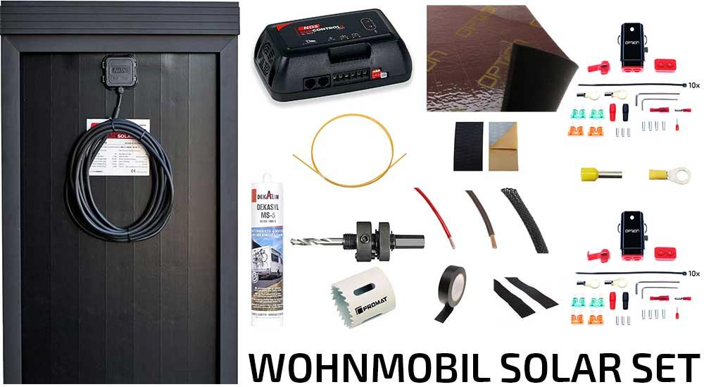 Solar-Kit180W - Solaranlage 180 WATT für Wohnmobile mit allem Zubehör