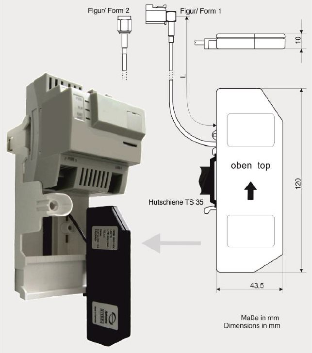Antenne zur Montage in Kunststoffumgebung