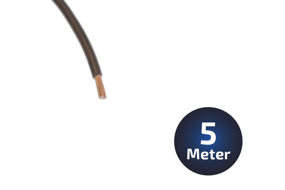 5-Meter Massekabel 6qmm Vollkupfer schwarz