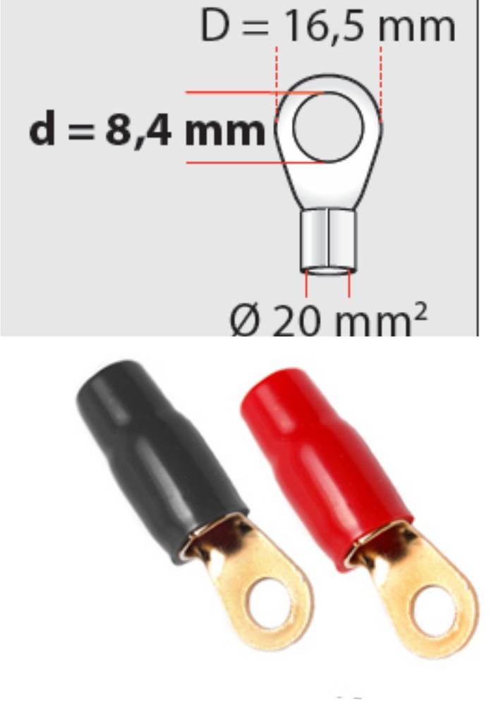 Ringösen 20 mm² D 84mm 1 x rot  1 x schwarz