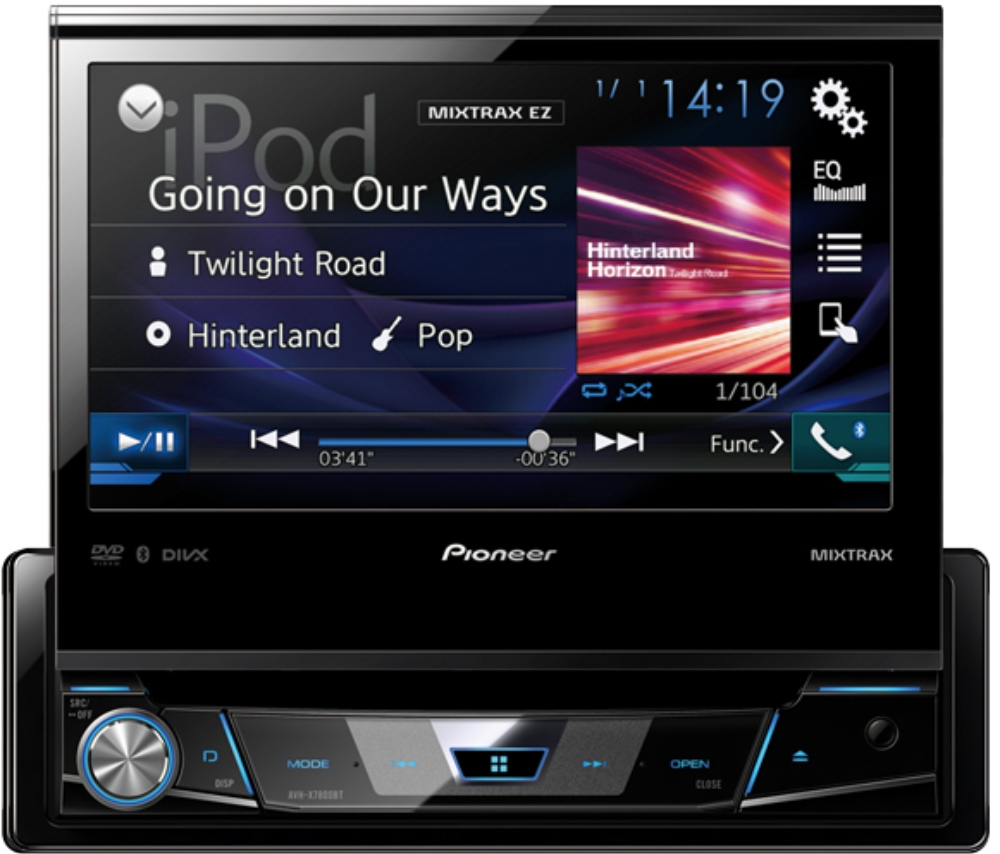 pioneer avh x7800bt autoradio 1 din mit ausfahrbarem monitor und bluetooth pioneer autoradio. Black Bedroom Furniture Sets. Home Design Ideas